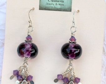 Lampwork Bead Earrings, Lampwork Bead Jewelry, Purple Lampwork Beads, Key Charm, Sterling Silver ear wires