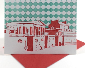 Philadelphia Letterpress Card   Fairmount Water Works   red & turquoise single blank greeting card with envelope