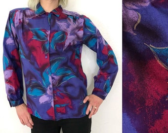 Large 1980s Blouse 80s Button Up Top Floral Blouse Purple Blouse Jozell Clarissa Explains it All Style 90s Fashion 80s Fashion Loud Blouse