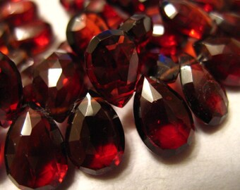Mozambique GARNET Pear Briolettes, Luxe AAA, 10-12 mm, HUGE Pear, Burgundy Red, Faceted, January birthstone 1012