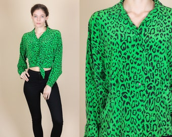 90s Leopard Print Silk Blouse - Medium // Vintage Green Black Button Up Collared Top