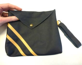 """Navy leather clutch, Envelope leather pouch with beige stripes, Blue and beige purse, navy blue leather clutch bag, MALAM, 8x7"""" - 20x18"""