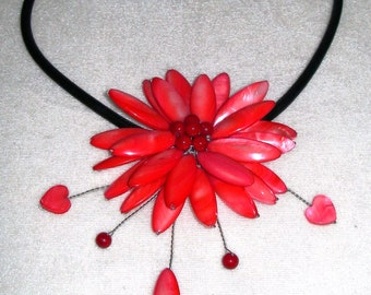 Red,large,flower, coloured, mother of pearl, pendant, necklace, hand made
