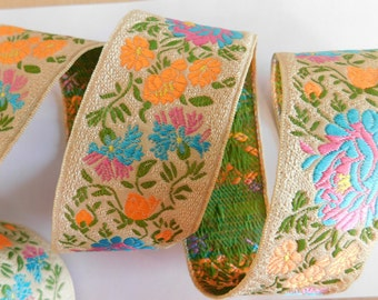 Floral jacquard~Woven Jacquard Ribbon Trim Tape~Blue~Pink~Neon orange~Sage green~floral~1-3/4""