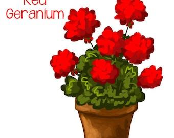 Red Geranium in Pot  - Original art download 2 files, geranium graphic, geranium clip art, geranium printable