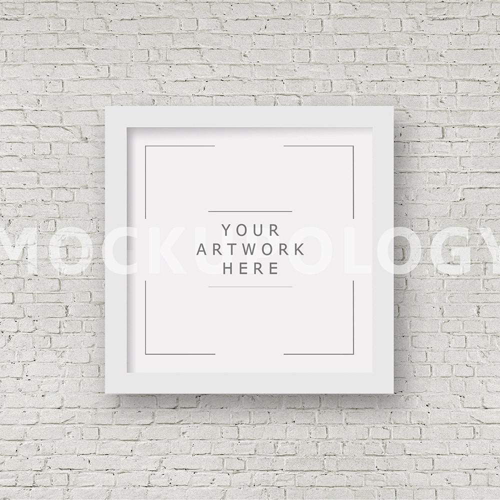SQUARE Digital White Frame Mockup Styled Photography Poster