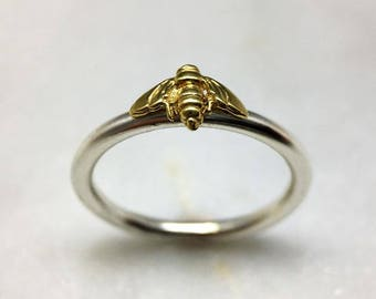 Tiny Gold Bee Ring