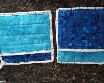 Blue and Turquoise pot holders , oven mitts