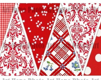Strawberries and Cream All Occasion Digital Collage Sheet garland party banner home decor pennant flags decoration bunting - U-Print