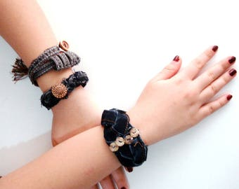 Recycled denim bracelets with button Fabric  Bracelet, Textile Bracelet, Recycled Jewelry