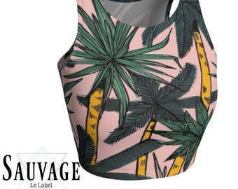 Palm trees on pink  - Athletic pink and white Crop Top • Festivals and yoga classes approved • handmade in Montreal