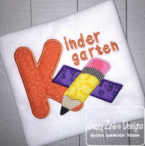 Kindergarten Pencil and Ruler Appliqué Embroidery Design - school appliqué design - teacher appliqué design - pencil appliqué design