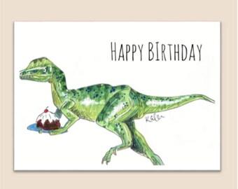 Dinosaur birthday card (cake thief )