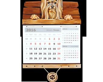 Hand painted Wall calendar Dog calendar Yorkshire terrier Gift for boss woman Office decor woman Calendar gift Office gift for boss а3к26