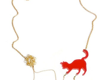 Cat playing necklace, animal lover jewelry, statement necklace-  Red acrylic silhouette of a cat playing with wool