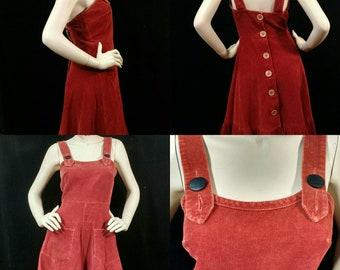Vintage 1970's, corduroy, summer jumper dress