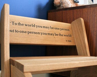 Wooden Step Stool\Seat\Chair, Child's\Children's, Personalised, Oak, Children's Furniture, Christening\Birthday\Christmas Gift, Handmade
