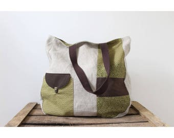 Tote bag women linen and olive green Japanese fabric