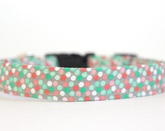 Spring Summer Dog Collar - Mint & Coral Polka Dot Dog Collar