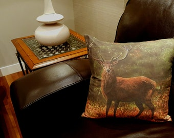 Majestic Red Deer Stag design cushion, Stag pillow, Stag Pillow Cover, Stag decorator throw pillows, Stag throw cushion