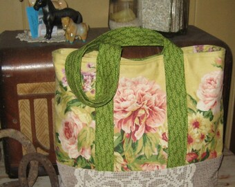Tote Bag, Shopping Bag, Diaper Bag, Cottage Roses
