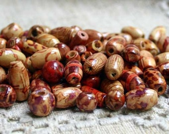 SALE 100pcs Wood Beads Assorted Painted Pattern Round Oval Tube