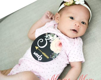 Baby Girl Monthly Stickers, Baby Month Stickers, Baby Milestone Stickers Tribal Arrows Gold  Watercolor Floral Bodysuit