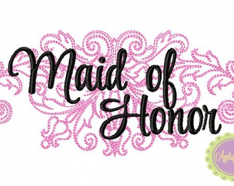 Maid of Honor Damask Machine Embroidery Design