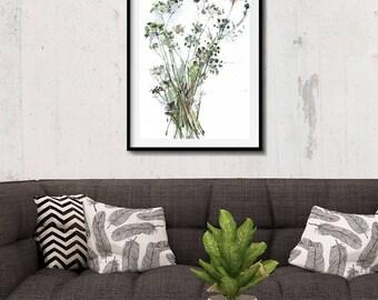 Parsley Flowers, Original Parsley Painting, Herb Original Drawing, Original Watercolor Painting, Floral Illustration, Living Room Wall Art