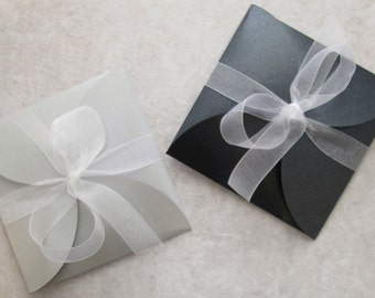 Petal Envelope in Pearlescent Silver or Black tied with organza ribbon
