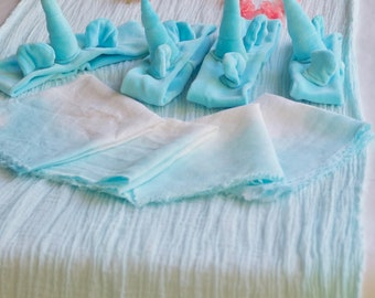 Hand dyed Robins egg blue unicorn party package, table runner, unicorn party decor, organic kids party, free domestic shipping