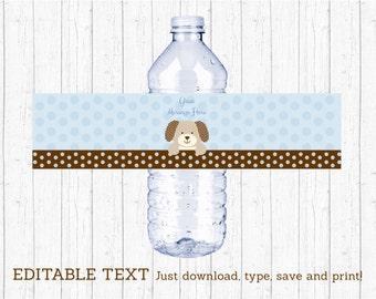 Cute Puppy Water Bottle Labels / Puppy Baby Shower / Baby Blue / Baby Boy Shower / Printable INSTANT DOWNLOAD Editable PDF A135