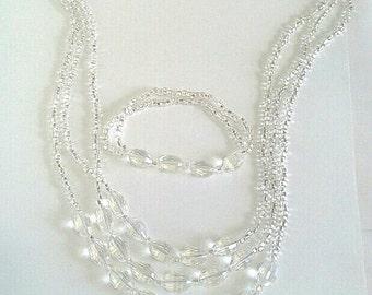 Collier en cristal clair facetté, jeu de Bracelet de mariage, bijoux de fête, Long collier de déclaration, bijoux de mariée Set, bijoux élégant fait à la main