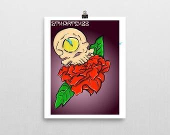 Cyclops Skull and a Rose Print 8 1/2x11