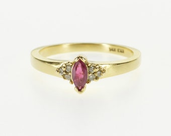 14k Marquise Ruby Diamond Cluster Accented Ring Gold