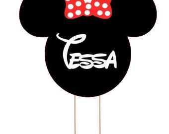 Minnie Mouse cake topper, Disney cake topper, Mickey cake topper personalize topper
