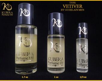 Type Vetiver perfume in oil for men 1/3oz 1oz 1.7oz