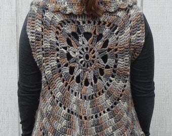 crochet sleeveless sweater vest, crochet shrug, crochet circle vest, wild flower jacket, boho cardigan, sleeveless cardigan