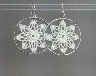 Tavita doily earrings, white silk thread, sterling silver