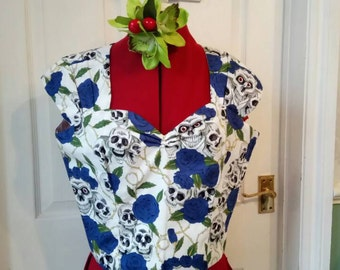 SALE Rockabilly Skull and Roses sweetheart top- size 12