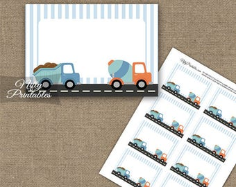 Construction Labels - Construction Food Labels Boys Birthday Party Decor - Printable Dump Truck Birthday Party Name Tags CON1