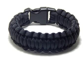 Paracord Survival Bracelet Black 5/8 Plastic Buckle