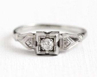Sale - Vintage Diamond Ring - Art Deco 1930s Size 7 3/4 18k White Gold 1/10 CT - Engagement Bridal Wedding Etched Filigree Design Jewelry