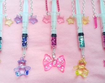 Star Glitter Syringe Necklaces! - injection menhera medical fashion kawaii shots moon stars