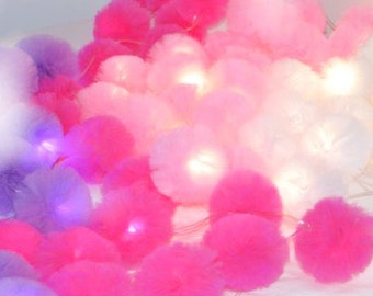 LED LIGHTS Tulle Pom Poms,  Pom Pom  Tulle Lights, Light  Pom Poms