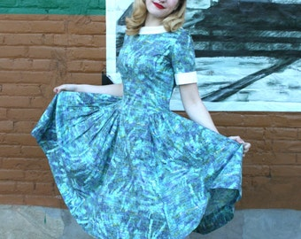 Vintage 1950s Abstract Aqua Landscape Print Cotton Dress