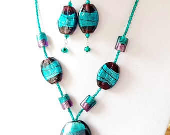 """Turquoise a nd Mauve Illumination Necklace & Earring Set, """"OOAK"""" Beaded Necklace, Long Earrings, Vegan Friendly"""