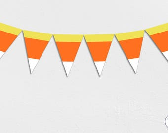 Candy Corn Halloween Garland, Bunting, Banner, trick or treat, Instant Download, printable,