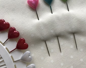 Heart sewing pins, pins wheels, heart top pins, sewing box supplies, sewing essentials , hand sewing , sewing equipment