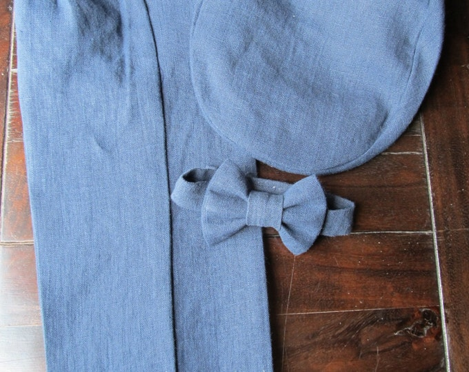 Linen Ring Bearer 3 Piece Set, Ring Bearer Bow tie, Pant, and Newsboy hat. Wedding Outfit for Ringbearer